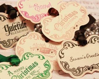Christmas Tags (Doubled Layered) - Vintage Christmas Tags Assortment (A3) - Handmade Vintage Inspired Christmas Gift Tags - Set of 12