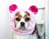 Love Me Bear Dog Snood / Specialty Dog snood / Cavalier or Cocker long ear covering / Valentine's Day