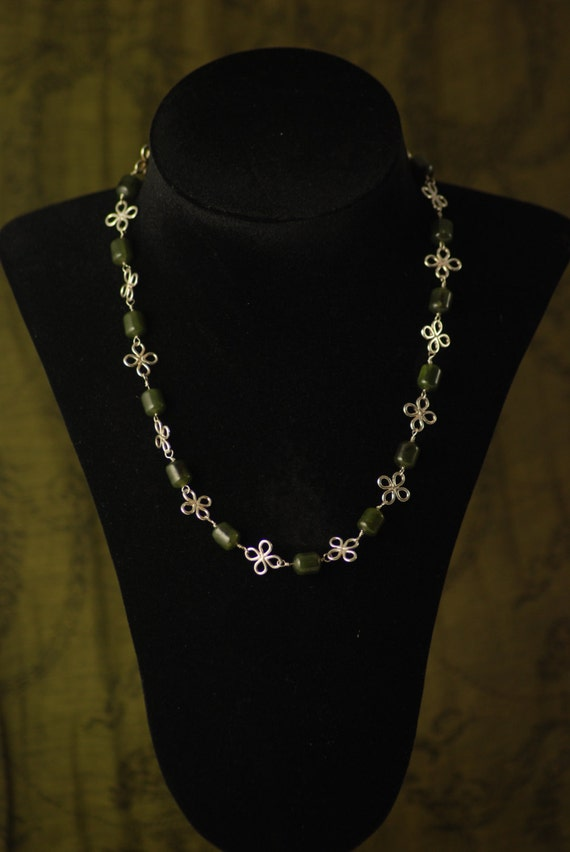 NONA: Reproduction Roman Necklace - sterling silver flowers and Nephrite Jade - assembled by hand