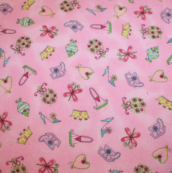 Pink cotton flannel fabric baby girl cute print remnant for Cute baby fabric prints