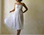 Wedding Dress, Short Wedding Dress, Tea length wedding dress, Strapless Wedding Dress, wedding gown, Boho Wedding dress, Alternative Wedding