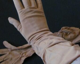 Vintage Nylon Ladies Stretch Gathered Gloves Hansen Size 7 (L37)