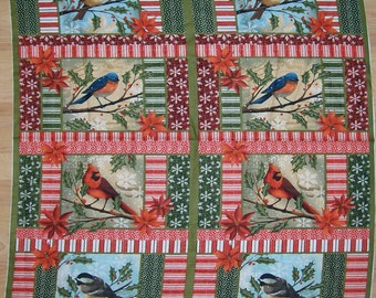 A Wonderful Christmas Holiday Winter Birds Cotton Fabric Panel Free US Shipping