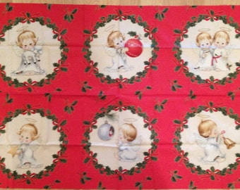 A Gorgeous Christmas Angels Metallic Holiday Block Cotton Fabric Fabric Panel Free US Shipping