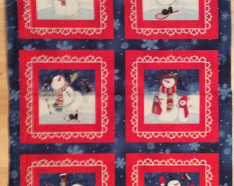 A Chiily Silly Snowman Winter Holiday Fabric Panel Free US Shipping