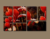 Red Dogwood Montage. 36in x 56in 7 piece oil painting on gallery wrap canvas.