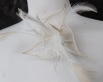 Cute  flower with    feather ivory  color