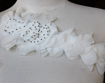 Cute  embroidered  and beaded  chiffon flower applique