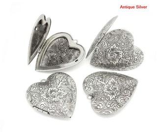 2pcs Large Antique Silver Heart Locket Pendants - Locket Charms - Carved Wholesale Locket Findings - Vintage Filigree Daffodil Pendant C27