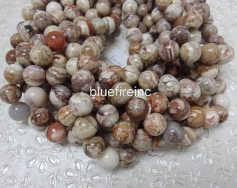 37 pcs 10mm round Smooth Natural Color Mexican Crazy Lace Agate Beads