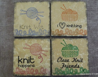 Drink Coaster - Knitting Coasters - Set of 4 tile Coasters - Perfect Housewarming Gift * Gifts for Girlfriend * Wedding Gift * Gifts for Mom