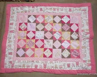 Baby Quilt - Clothesline Theme Quilt - Hand Made Flannel Quilt - Baby Shower Gift  * birthday gifts for her