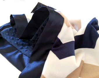 Lovey Size Navy, Mocha and White Chevron Minky Chevron Baby Blanket with Flat Satin Trim