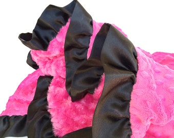 Baby Blanket Hot Pink Swirl Minky with Hot Pink Dot Minky and Black Satin Ruffle Trim