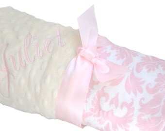Baby Yellow Minky with Pink and White Damask Baby Blanket Personalization Included Crib Size