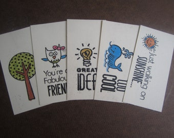 A Little Note (5) 1 each of- Walking on Sunshine, Too Cool, Great Idea, Fabulous Friend, and a tree! tags, packaging, gift wrap, handmade