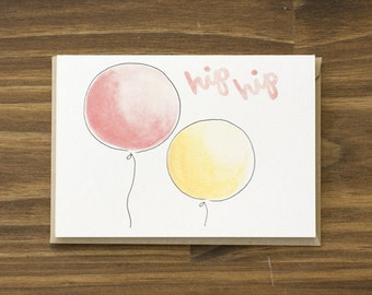 SALE hip hip hooray wedding balloons card
