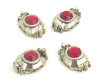 6 pcs. red nickel  2 hole slider beads 7X11 mm