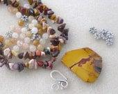 Mookite Gemstone Pendant Pewter Yellow Jade Necklace  Bead Kit DIY Jewelry Kit Craft Supplies Jewelry   Design    ON SALE!