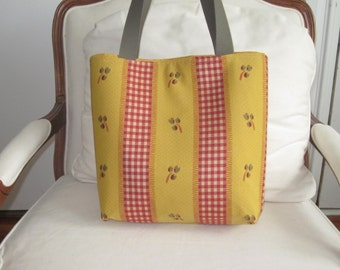 French Design, ,mustard color background with small pattern and red check stripe