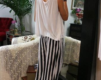 Travel Light Lounge Pajama Black and off White Stripe Knit Wide Trouser Low Rise Honeymoon Dream Sleepwear Lingerie