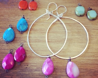 Interchangeable bead hoops with 2 sets of beads