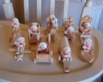 nine very cute wooden ornaments