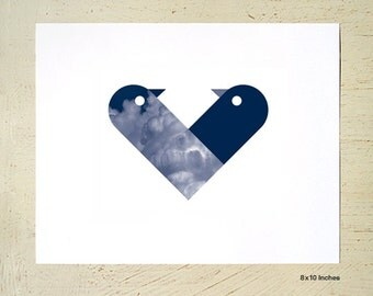 Love Birds print in navy blue by Erupt Prints. A4 print or 8x10 print sizes available