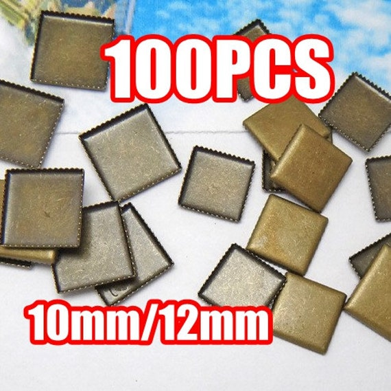 100PCS Blank Square Cabochon Settings- Brass Antique Bronzed Tone Saw-Toothed Bezel Setting Wholesale, 10mm/ 12mm as your choice
