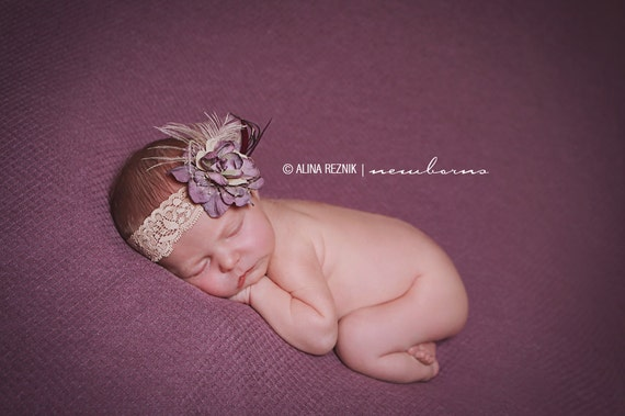 Deluxe Purple and Beige Flower headband