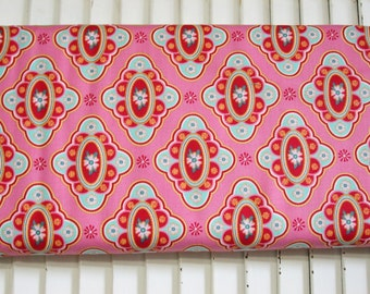 Domestic Bliss Liz Scott-Aqua purple pink-background-Cameos- flowers-dots one yard