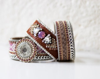 Aztec pattern cognac brown leather cuff bracelet - leather jewelry - swarovski crystal embroidered tribal pattern cuff - gift for her
