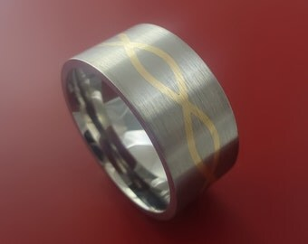 Wide Titanium and 14k Yellow Gold Infinity Weave Ring Band Custom Made Any Sizing and Finish