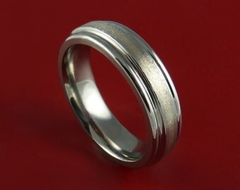 Titanium and White Gold Inlay Ring Custom Made Band Any Finish and Sizing 3 to 22