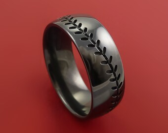 Black Zirconium Baseball Ring With Stitching Fan Band Any Size And