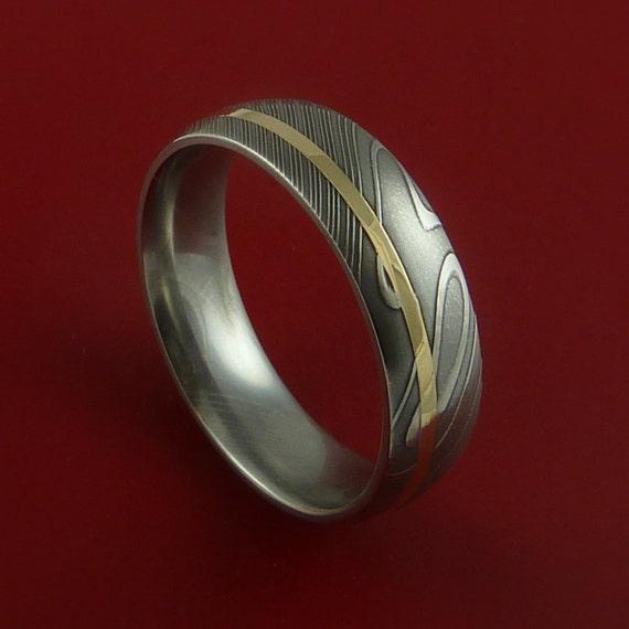 Damascus Steel 14K Yellow Gold Ring Wedding Band Custom Made 3-22