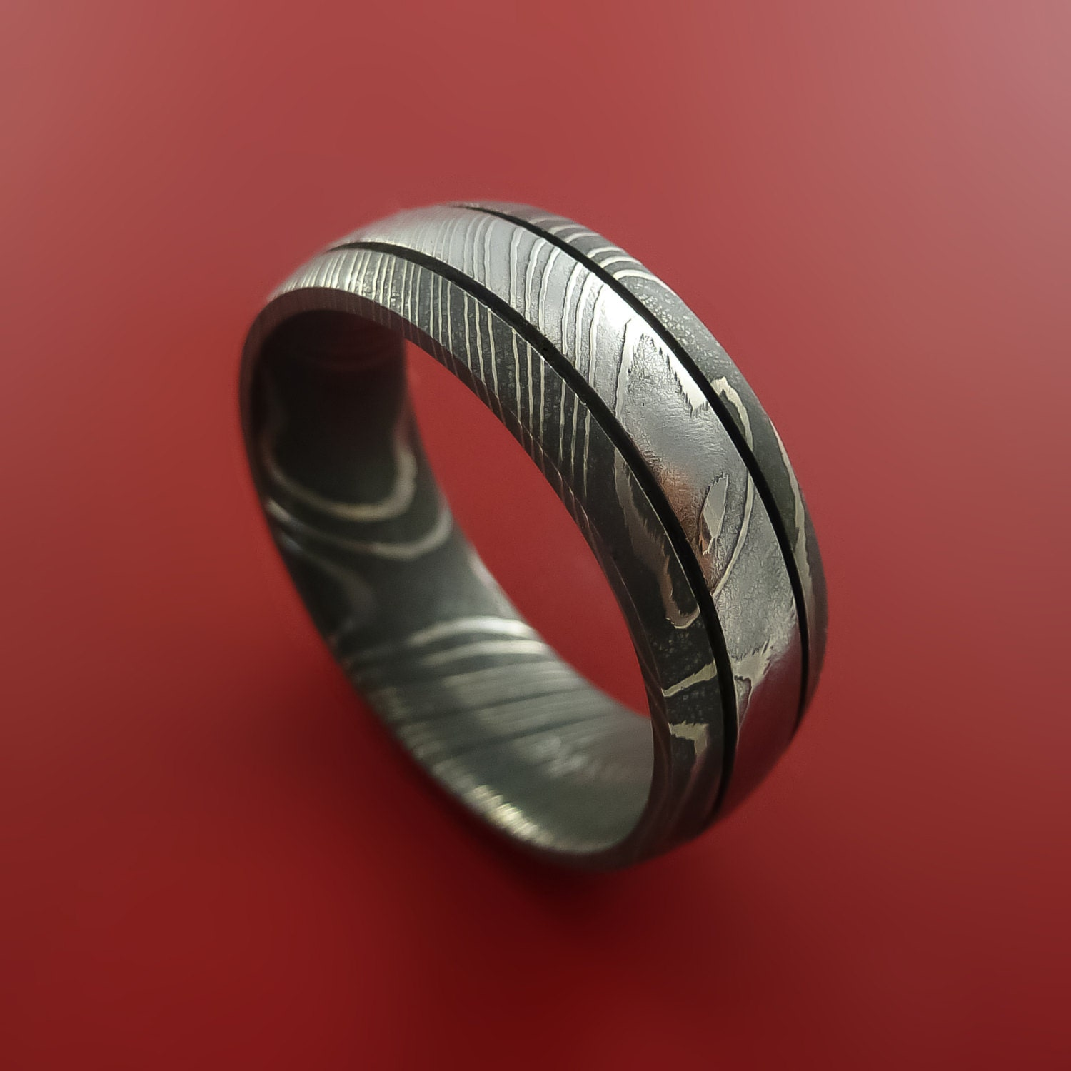 Damascus Steel Ring Wedding Band Genuine by StonebrookJewelry