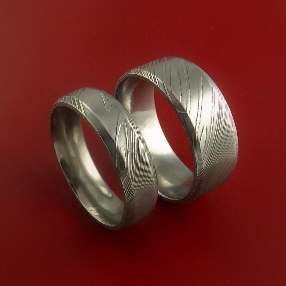 Damascus Steel Wedding Band: Matching Damascus Steel Ring Set Wedding Bands Genuine