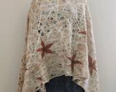 Felt crem cobweb felt shawl, light thin felt shawl, plant flower motifs shawl, all season scarf, Regina Doseth handmade in Lithuania Europe