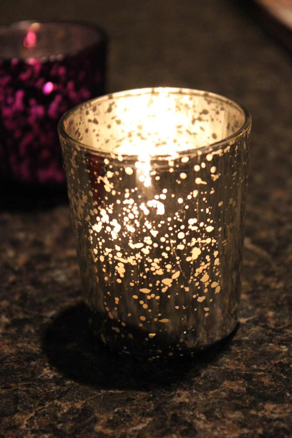 Sale Set of 50 MERCURY GLASS SILVER Speckled Glass Candle