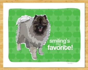 Keeshond Art Print - Smiling's My Favorite - Keeshond Gifts Funny Dog Art Portraits