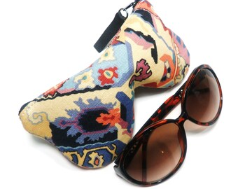 Mosaic Curves Eyeglass Case, Sunglasses Pouch, Sunglasses Case, Zippered Eye Pouch