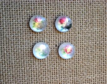 Push pin set, thumbtack set of 4 floral cabochon pins for bulletin boards, memo board tacks, magnets also available