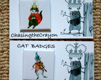 Cute kitty Cat Pin Button Badges 38mm Square Badges with cats