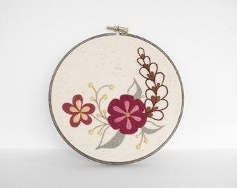 "Embroidery Art Botanical Leaf, Flowers and Vine Fiber Art. Embroidery Hoop Art of Brown and Tan Neutral Leaf Design in 6"" Hoop"