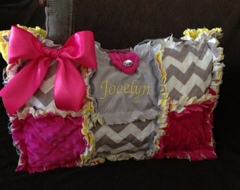 Custom gray chevron, hot pink and canary yellow rag quilt  diaper bag, handbag, purse, monogramming
