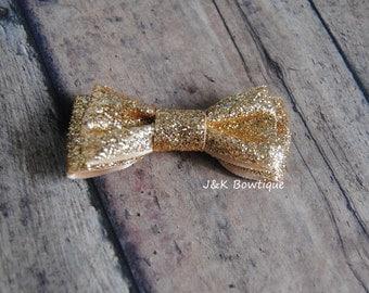 Gold sparkle mini bow double layer, hair bow, hair clip