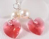 Indian Pink/Cream Pearl Swarovski Crystal Heart Drop Earrings