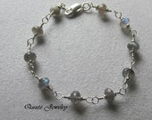 BRACELET: Labradorite and Sterling Silver FREE SHIPPING