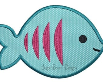 Fish - Machine Applique Embroidery Design - 4 Sizes (00614)